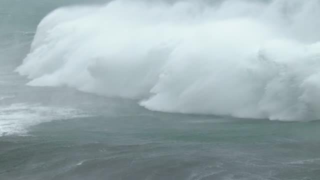 huge waves crash ashore as powerful typhoon soudelor nears the coast of taiwan - groß stock-videos und b-roll-filmmaterial