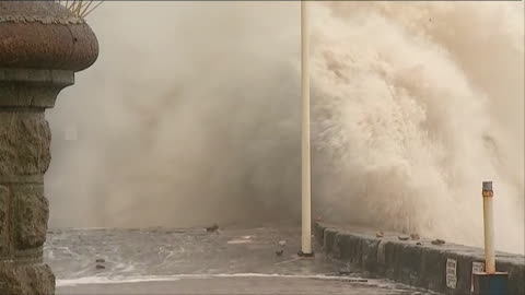 huge waves crash into sea walls and batter coastline in the devon town of dawlish, during severe weather conditions - devon stock videos & royalty-free footage