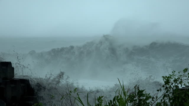 huge waves crash onto the coast of taiwan as tropical storm bailu hits the island in august 2019 - breaking wave stock videos & royalty-free footage