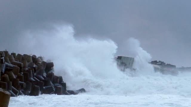 vídeos de stock, filmes e b-roll de ondas enormes que travam de encontro à parede do mar (movimento lento) - quebra mar