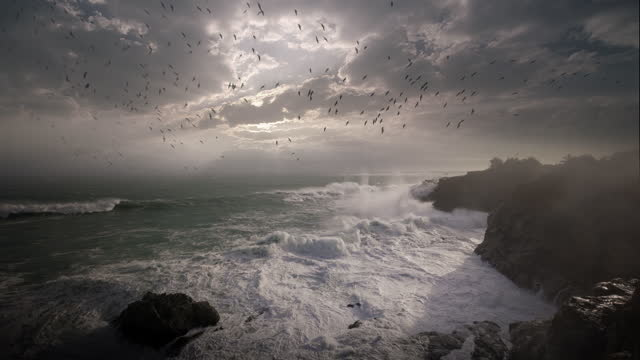 huge waves crashing on oregon coast during pacific storm at sunset - large stock videos & royalty-free footage