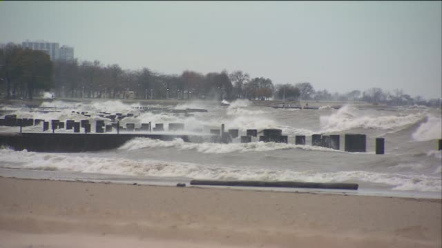 huge waves from lake michigan on october 30 2012 in chicago illinois - lake michigan stock videos & royalty-free footage