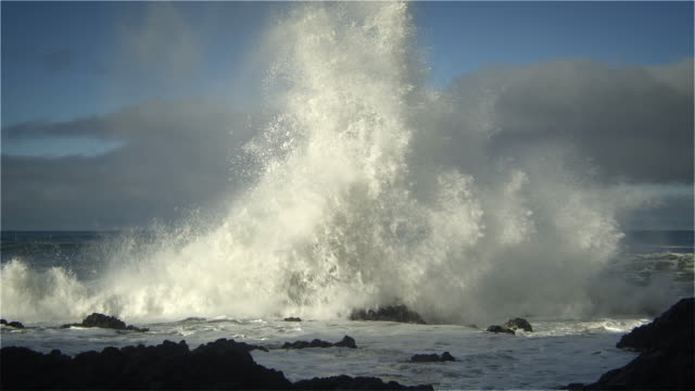 vidéos et rushes de huge waves pounding seashore, pacific ocean, oregon - cliff