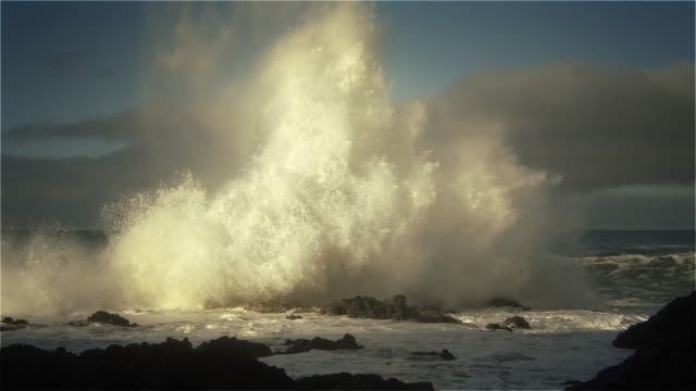 vídeos de stock, filmes e b-roll de huge waves pounding seashore, pacific ocean, oregon - pedra rocha