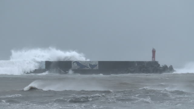vidéos et rushes de huge waves spawned by typhoon halong crash into a harbor on the south coast of japan on 8th august 2014 - terre en vue