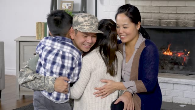 hugging family - military recruit stock videos & royalty-free footage