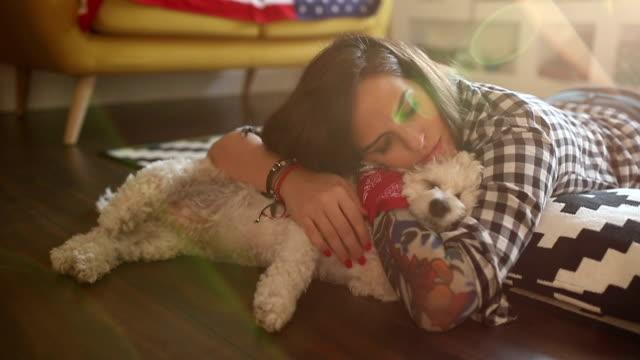 hugging sleeping dog