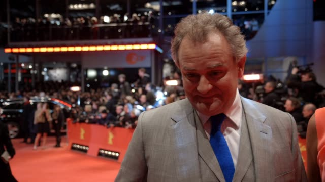 INTERVIEW Hugh Bonneville on being in Berlin working with George Clooney at 'The Monument Men' Red Carpet at Berlinale Palast on February 8 2014 in...