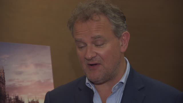 hugh bonneville on the end of downton abbey, 6 years together, julian fellowes, the age of the last series, downton film, filming in india, downton... - julian fellowes stock videos & royalty-free footage