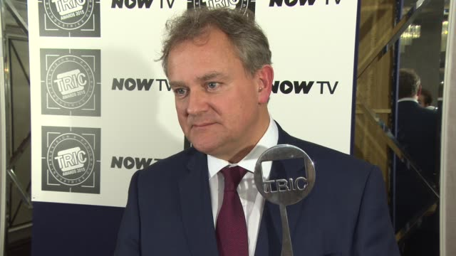 interview hugh bonneville on winning the award downton abbey having fun on set royal visit at tric awards at grosvenor house on march 10 2015 in... - hugh grosvenor stock videos & royalty-free footage
