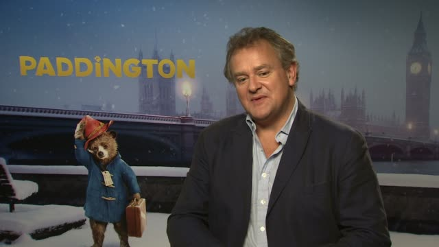 INTERVIEW Hugh Bonneville on working with an imaginary bear on set at 'Paddington' Interviews at Mandarin Oriental Hyde Park on November 17 2014 in...