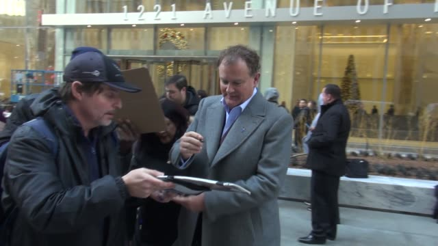 Hugh Bonneville promoting 'Downton Abbey' leaving SiriusXM Satellite Radio signs for fans in Celebrity Sightings in New York