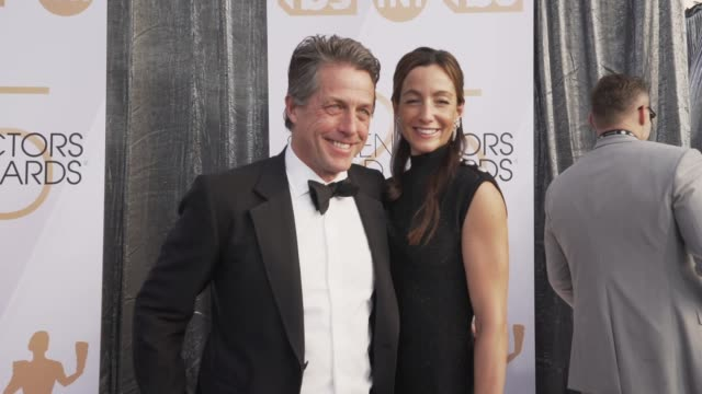 hugh gran anna eberstein at the 25th annual screen actors guild awards social ready content at the shrine auditorium on january 27 2019 in los... - screen actors guild stock videos & royalty-free footage