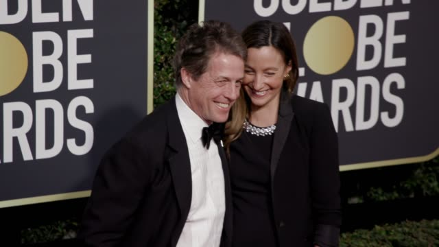 Hugh Grant and Anna Eberstein at the 75th Annual Golden Globe Awards at The Beverly Hilton Hotel on January 07 2018 in Beverly Hills California