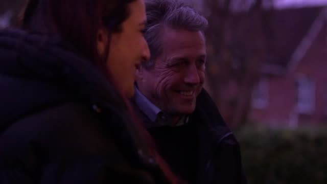 hugh grant goes canvassing with liberal democrat candidate luciana berger in the constituency of finchley and golders green he speaks to voters on... - canvas stock videos & royalty-free footage