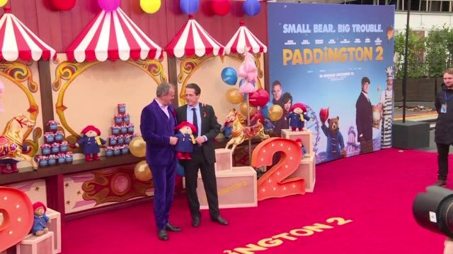 hugh grant high bonneville and a host of other british stars walk the red carpet for the premiere of paddington 2 - ben whishaw stock videos & royalty-free footage
