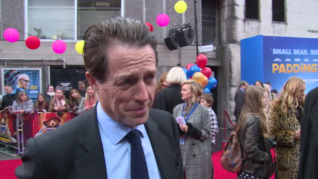 hugh grant on his character paddington being an uplifting character and the timeles quality at bfi southbank on november 05 2017 in london england - bfi southbank stock videos & royalty-free footage