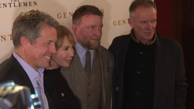 hugh grant, trudie styler, guy ritchie and sting at 'the gentlemen' special screening at the curzon mayfair on december 03, 2019 in london, england. - trudie styler stock videos & royalty-free footage
