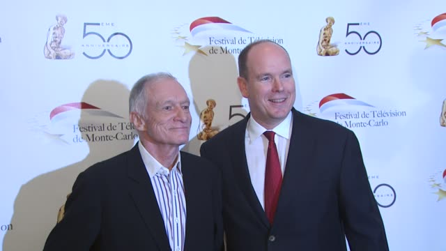 hugh heffner hsh prince albert ii of monaco at the monte carlo television festival cocktail party at beverly hills ca - monaco royalty stock videos & royalty-free footage