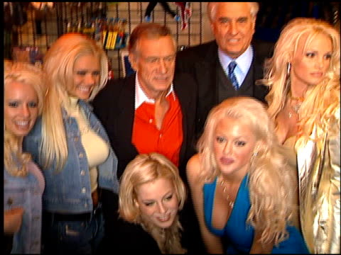 hugh hefner at the display of hugh hefner in wax at the hollywood wax museum in hollywood california on february 20 2001 - hugh hefner stock videos & royalty-free footage