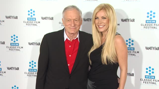 hugh hefner crystal harris at the tcm classic film festival opening night screening of 'a star is born' at hollywood ca - hugh hefner stock videos & royalty-free footage