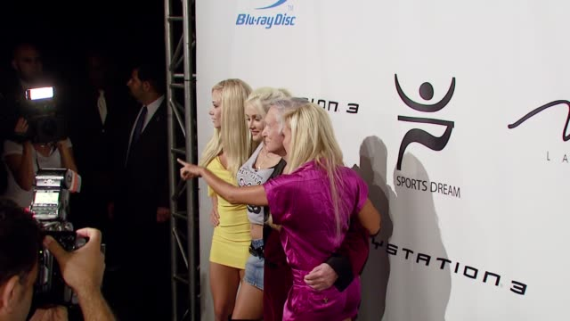 hugh hefner, holly madison, bridget marquardt, kendra wilkinson at the playboy mansion turns 'blu' for '08 espy awards kick off party at beverly... - hugh hefner stock videos & royalty-free footage