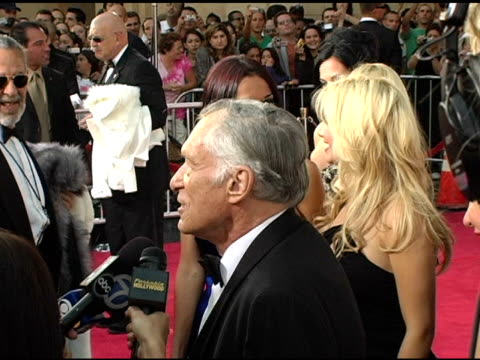 Hugh Hefner interviewed by the press at the 33rd AFI Life Achievement Award 'A Tribute to George Lucas' at the Kodak Theatre in Hollywood California...