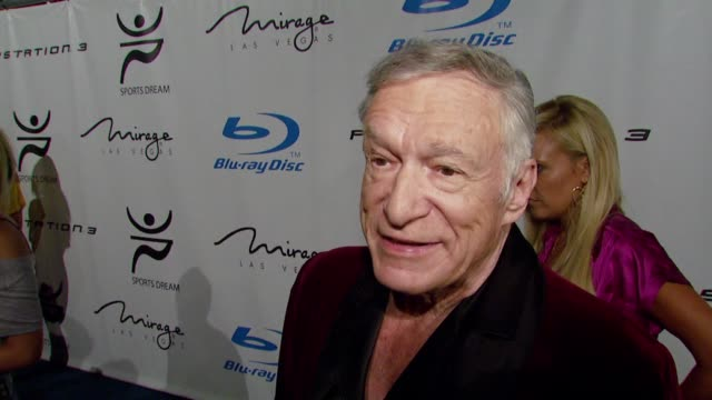 hugh hefner, the athletes at the playboy mansion turns 'blu' for '08 espy awards kick off party at beverly hills california. - hugh hefner stock videos & royalty-free footage