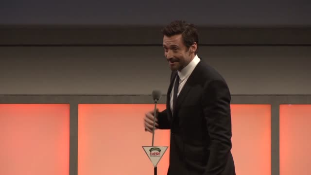 speech hugh jackman accepts the icon award at jameson empire film awards at the grosvenor house hotel on march 30 2014 in london england - hugh grosvenor stock videos & royalty-free footage