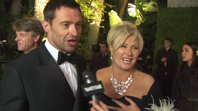 hugh jackman and deboarra-lee furness on the vanity fair oscar party at the 2011 vanity fair oscar party arrivals at hollywood ca. - vanity fair oscar party stock videos & royalty-free footage