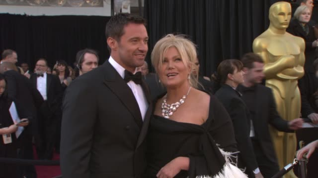 hugh jackman and wife deborra-lee furness at the 83rd annual academy awards - arrivals pool cam at hollywood ca. - wife stock videos & royalty-free footage