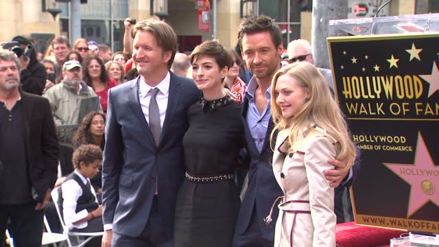 Hugh Jackman Anne Hathaway Amanda Seyfried and Tom Hooper at Hugh Jackman Honored with Star on the Hollywood Walk of Fame on 12/13/12 in Hollywood CA
