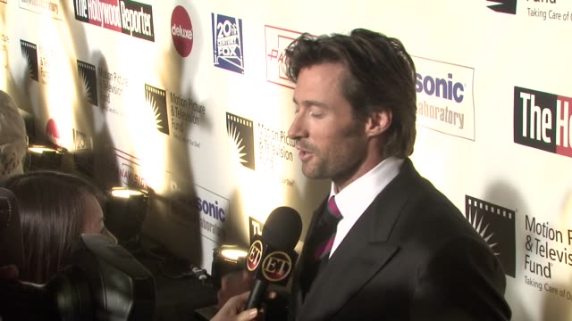 hugh jackman at the 'a fine romance' to benefit the motion picture television fund at los angeles ca - motion picture & television fund stock videos & royalty-free footage