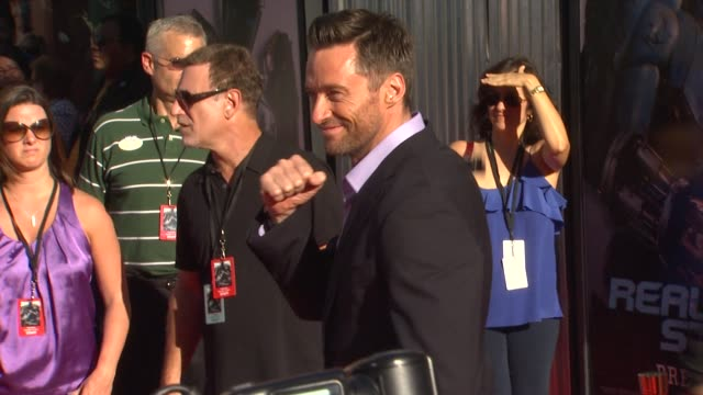 hugh jackman at the the world premiere of dreamworks pictures' 'real steel' at universal city ca. - universal city stock videos & royalty-free footage