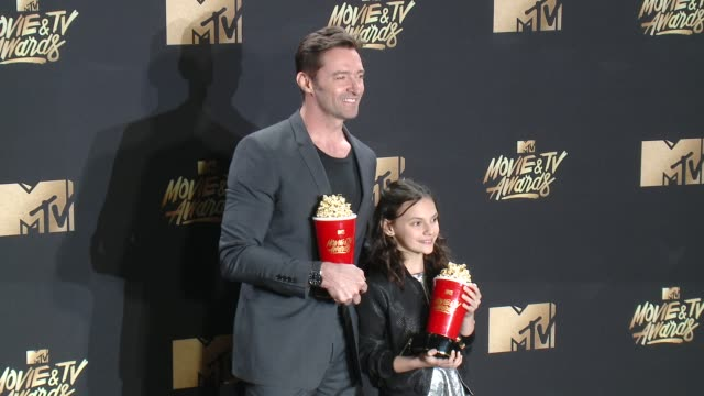 hugh jackman dafne keen at 2017 mtv movie and tv awards press room in los angeles ca - mtv movie & tv awards stock videos & royalty-free footage