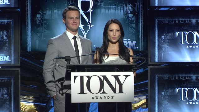 hugh jackman, lucy liu and jonathan groff announce tony awards will be june 8 at 2014 tony award nominations at paramount hotel on april 29, 2014 in... - lucy liu stock videos & royalty-free footage