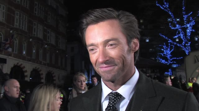 hugh jackman on being a sex symbol after the frequent scenes with his shirt off in the movie; on the difference between filming with an... - 2008 stock-videos und b-roll-filmmaterial