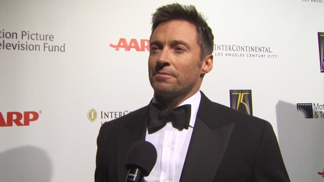 hugh jackman on hosting tonight's benefit on why he supports the motion picture and television fund on if he prefers theater or film on the first... - motion picture & television fund stock videos & royalty-free footage