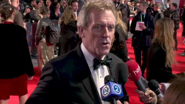 hugh laurie on the importance of charles dickens in modern society, working with armando iannucci, the script, working with dev patel at 'the... - hugh laurie stock videos & royalty-free footage