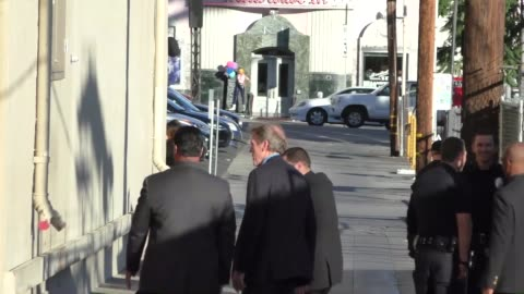 hugh laurie outside jimmy kimmel live in hollywood in celebrity sightings in los angeles, - hugh laurie stock videos & royalty-free footage