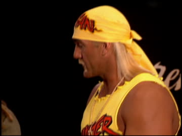 stockvideo's en b-roll-footage met hulk hogan at the natpe convention on january 25, 1995. - natpe convention
