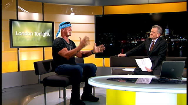hulk hogan interview; england: london: gir: int terry bollea studio interview sot - discusses forthcoming wrestling event at wembley arena - wembley arena stock videos & royalty-free footage