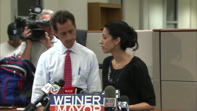 vídeos y material grabado en eventos de stock de huma abedin says forgiving anthony weiner after his resignation was a choice she made for her family at a presser held after more lewd behavior... - huma abedin