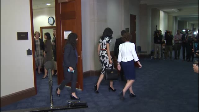 huma abedin trusted aide to presidential candidate hillary clinton leaves an interview with staff of the house select committee on the events... - huma abedin hillary clinton stock videos & royalty-free footage