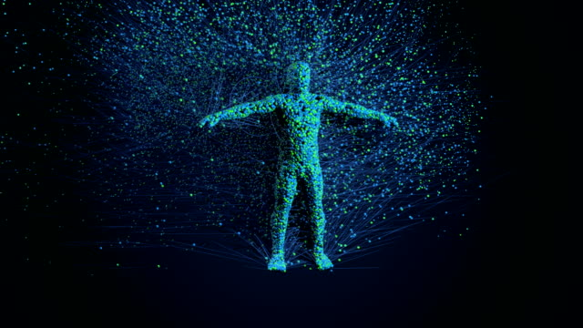 Human 3d creation with particles