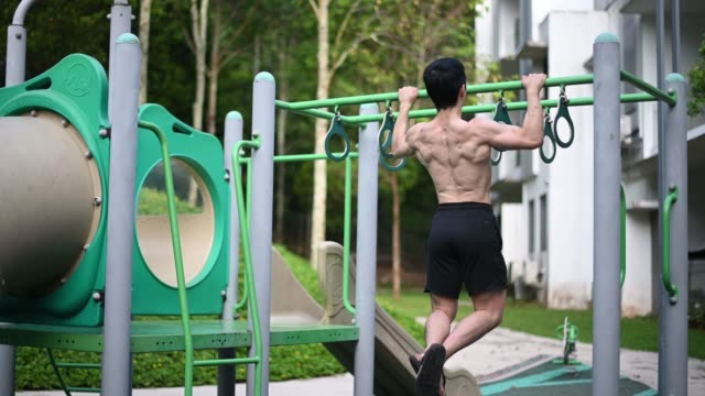 human back of asian chinese male athlete with naked upper body muscle doing workout at playground - human back stock videos & royalty-free footage