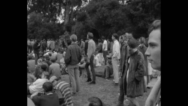 vídeos de stock e filmes b-roll de a human bein was staged on the summer solstice of 1967 in golden gate park during summer of love - love in