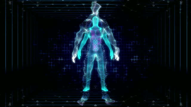 human body is modeled of points. - digital composite stock videos & royalty-free footage