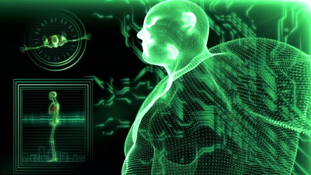 human body medical scan - cartilagine video stock e b–roll