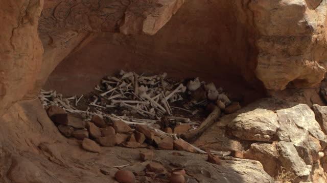 Human bones in a cave